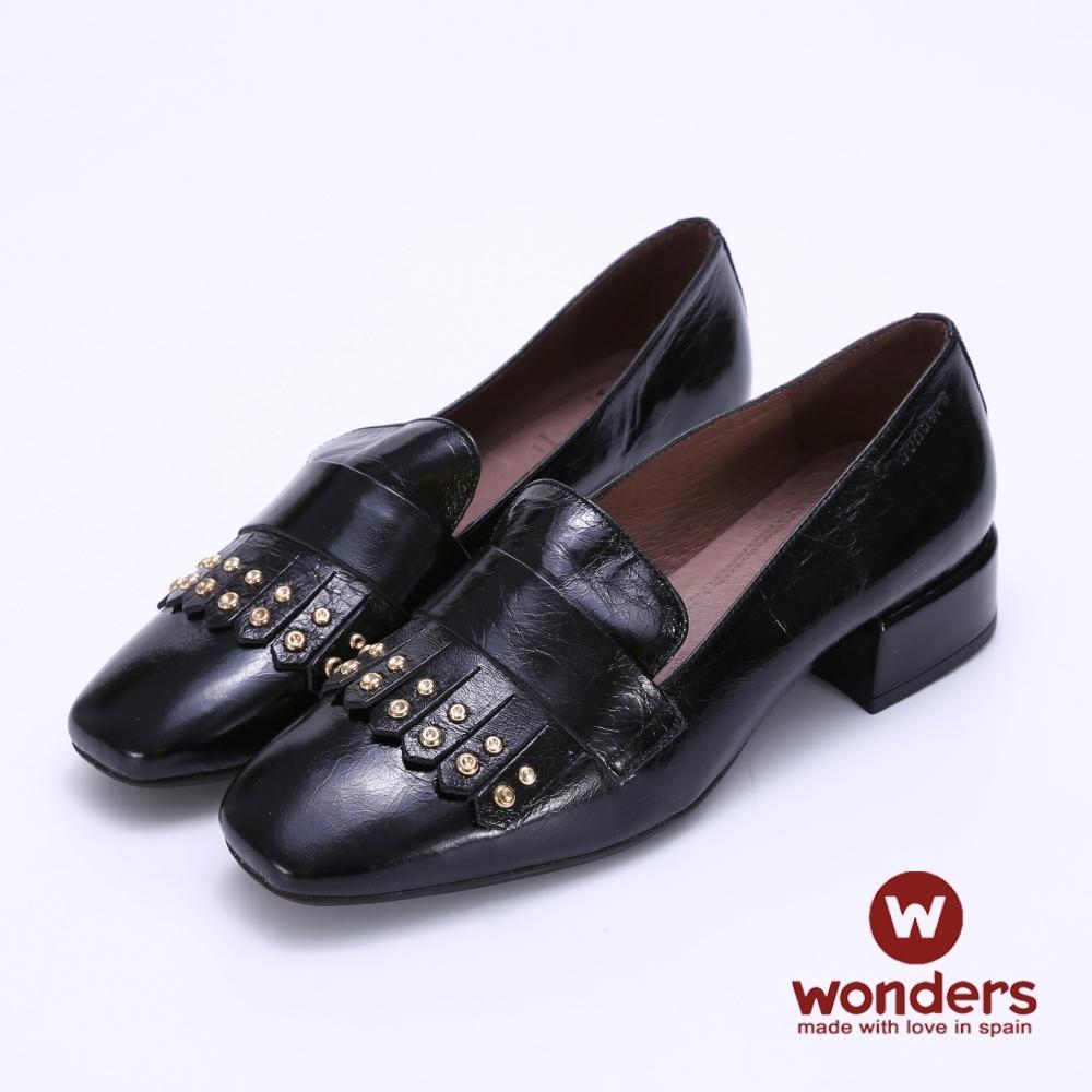 WONDERS-流蘇鉚釘小方跟-黑