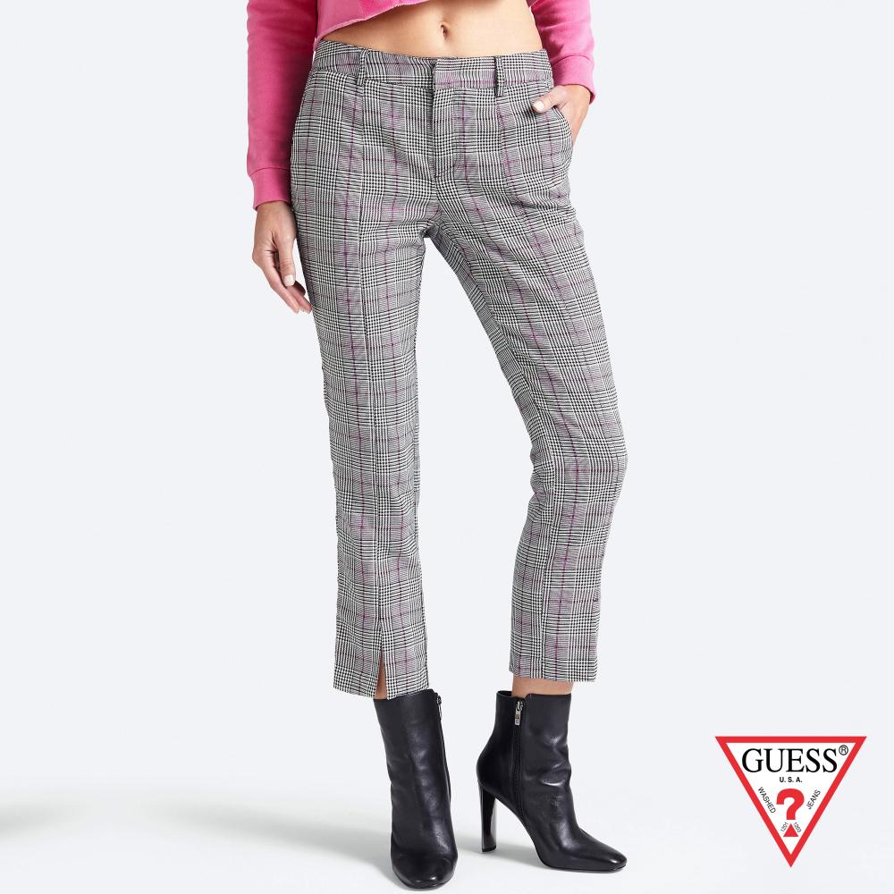 GUESS-女裝-復古格紋休閒長褲-灰 原價2790