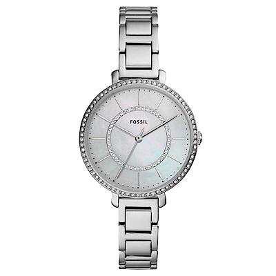 FOSSIL 驚艷全場美鑽雙錶圈女錶(ES4451)-白貝面x36mm