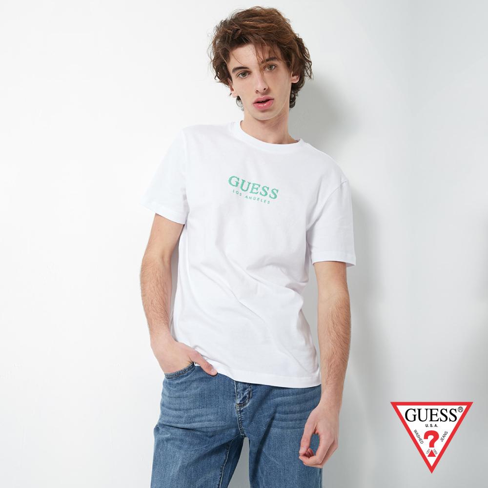 GUESS-男裝-點點印花LOGO經典短T,T恤-白 原價1390