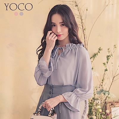 東京著衣-YOCO  甜美氣質蝴蝶綁結一字領上衣(共兩色)