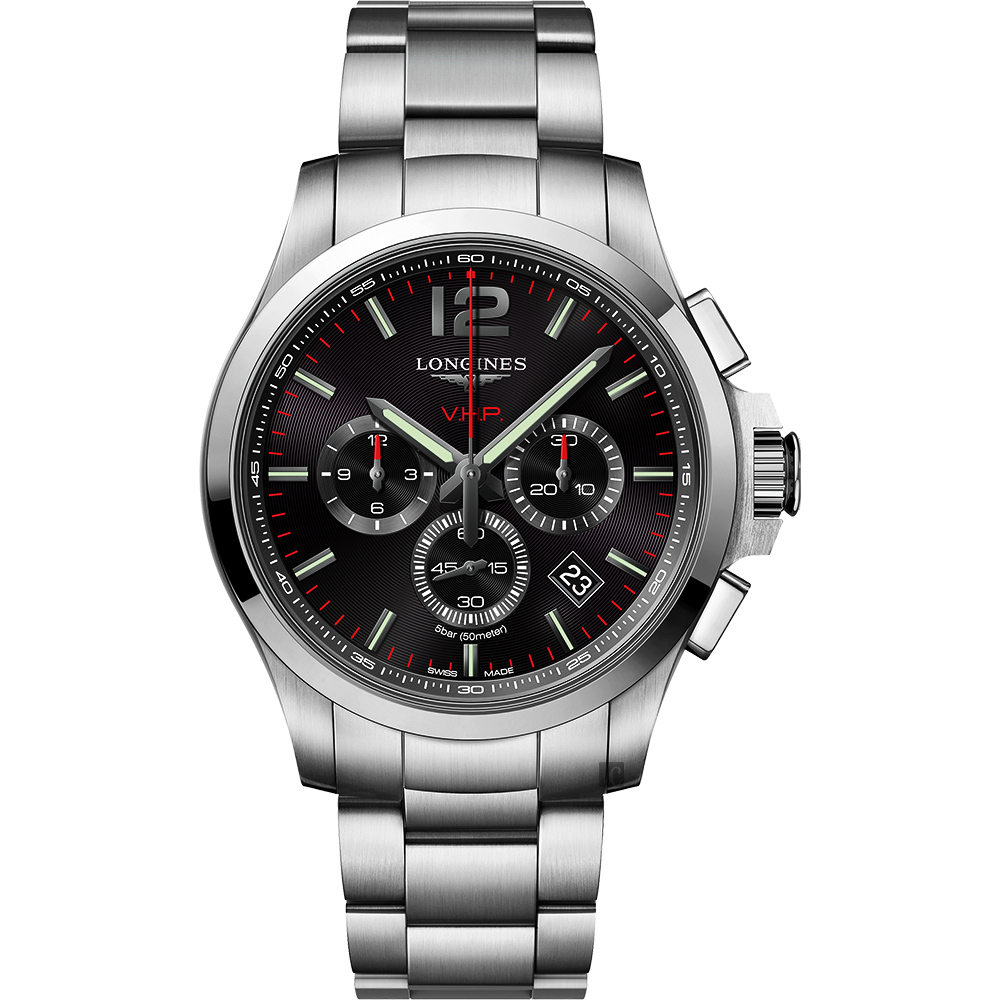 LONGINES 浪琴 征服者系列V.H.P.萬年曆計時手錶-黑x銀/43mm