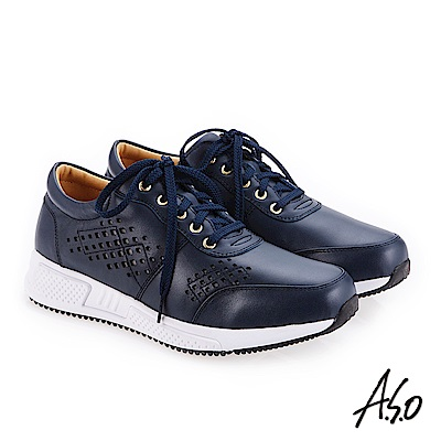 A.S.O 輕量抗震 歐風沖孔雕花戶外健走鞋 深藍