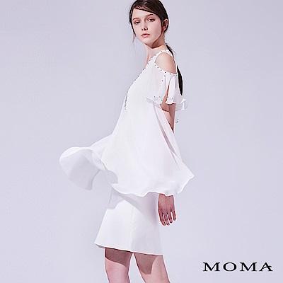 MOMA 蕾絲縫珠露肩洋裝