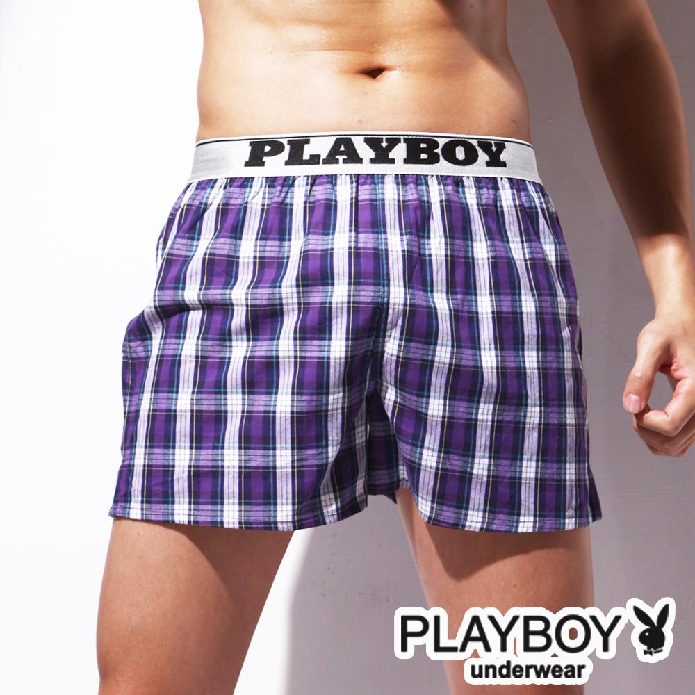 PLAYBOY LOGO織帶精梳棉開檔四角褲-單件
