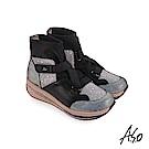 A.S.O 超能力氣墊 彈性布拼接牛皮休閒鞋 黑