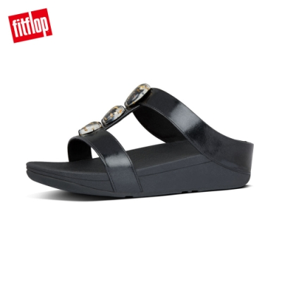 FitFlop METALLIC FLECK STONE H-BAR SLIDES黑