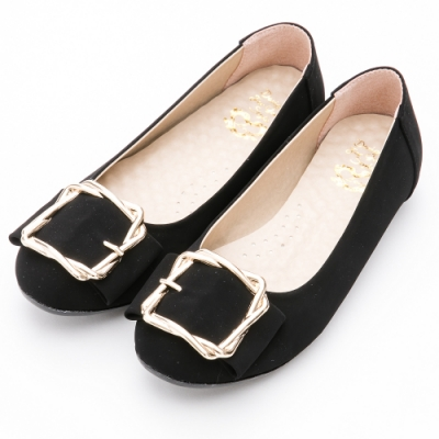 River&Moon包鞋-台灣製厚切乳膠方金扣圓頭娃娃豆豆鞋 黑