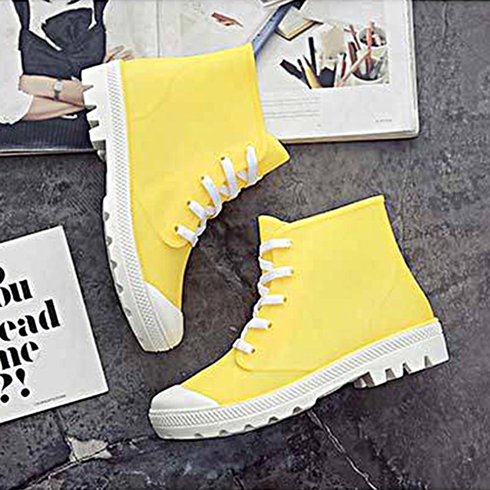 韓國KW美鞋館-街頭時尚防水輕量仿帆布長筒雨鞋 黃