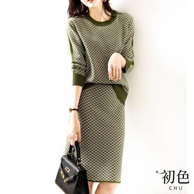 初色  慵懶風格子針織套裝-共3色-(F可選)