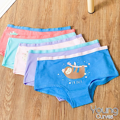 Young Curves 女兒童絲滑速乾平口褲-混色6件組(C2410064)