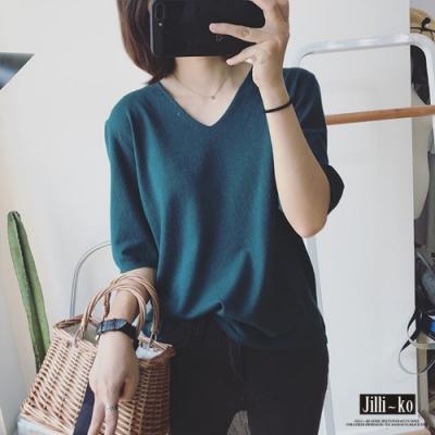 JILLI-KO V領半袖針織T恤- 綠/白/紫