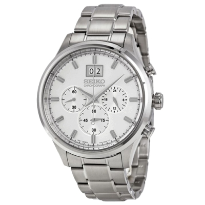 SEIKO精工   潔白生活提案三眼石英腕錶(SPC079P1)-白面x42.5mm