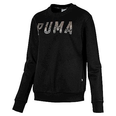 PUMA-女性基本系列運動風刷毛圓領衫-黑色-歐規