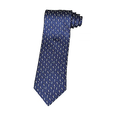 HERMES愛馬仕HERMES CUP經典緹花LOGO桌上足球設計蠶絲領帶(藍)