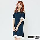 H:CONNECT 韓國品牌 女裝 -露肩百折拼接連身洋裝-藍(快)
