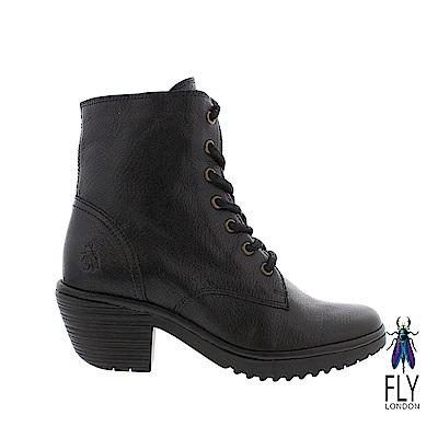Fly London(女) 吉普賽的足跡 粗跟綁帶牛皮短靴- 入幕黑 @ Y!購物