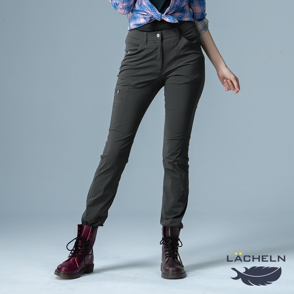 【LACHELN】女款-吸濕排汗彈性修身功能長褲-炭灰色(L91W702)
