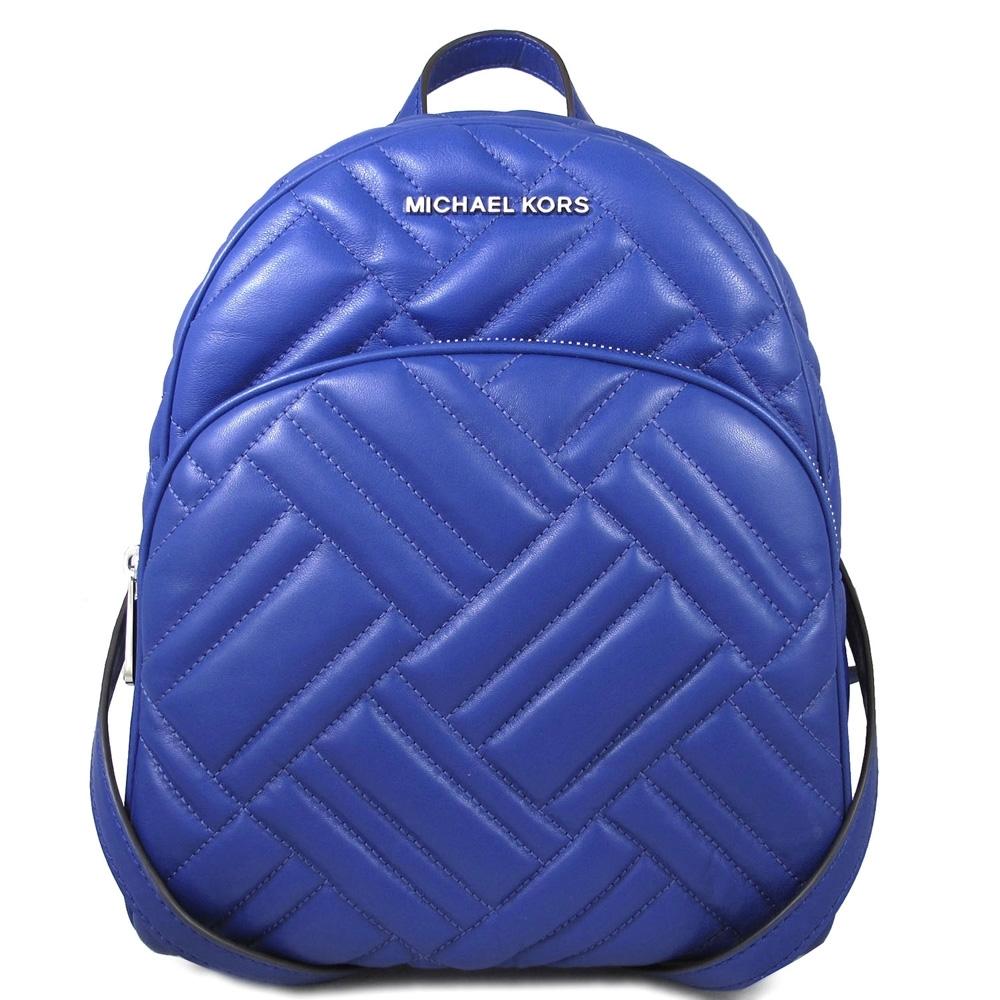 MICHAEL KORS Abbey 銀字Logo绗縫羊皮前口袋雙肩後背包(寶石藍)