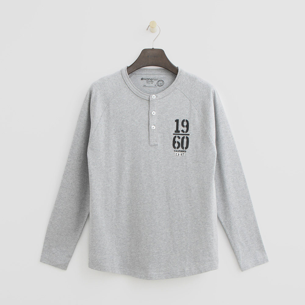 Hang Ten - 男裝 - 素面鈕扣T恤-灰色