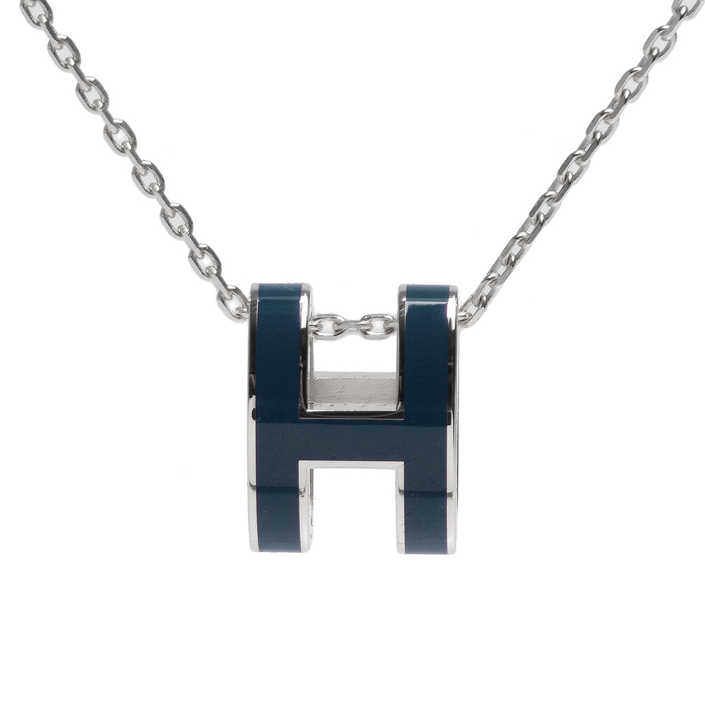 HERMES 經典Pop H立體簍空橢圓LOGO項鍊(銀-藍灰色)