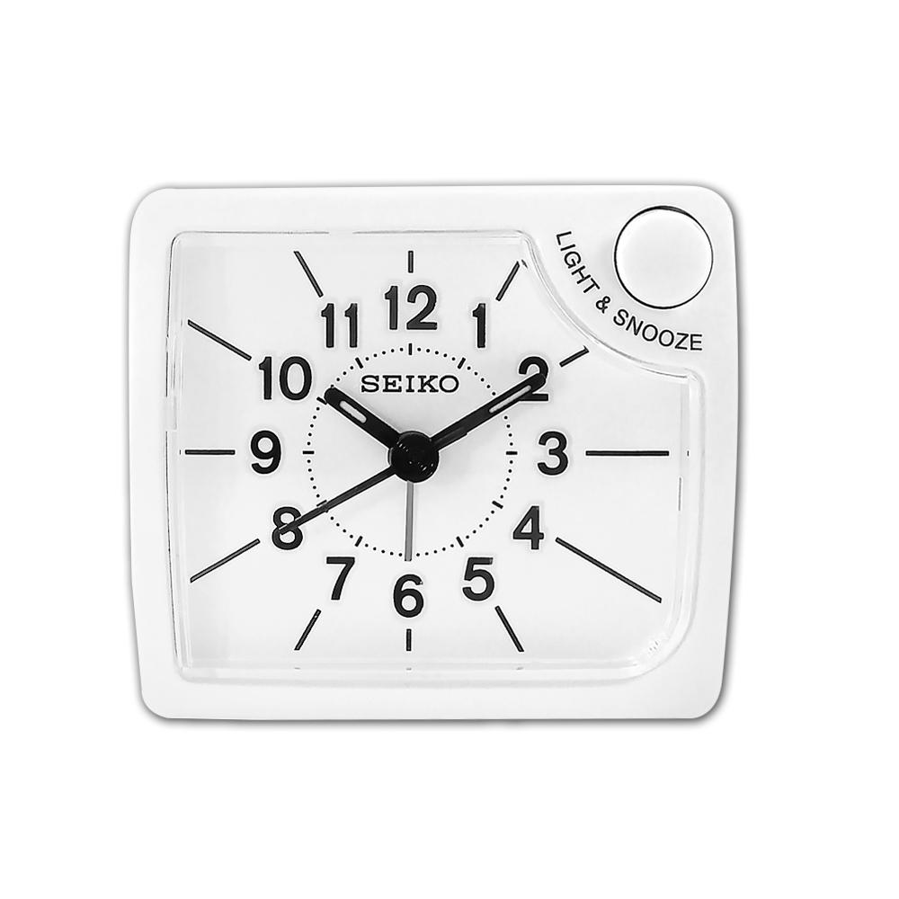SEIKO 精工 / 小巧靜音 夜光照明 貪睡鬧鈴 方形指針鬧鐘-白色