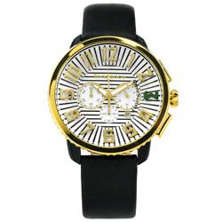 Tendence 天勢表 立體時標計時日期防水真皮手錶-白x金框x黑/46mm