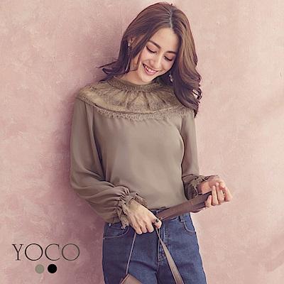 東京著衣-yoco 華美宮廷透膚蕾絲後綁帶縮口上衣-S.M.L(共二色)