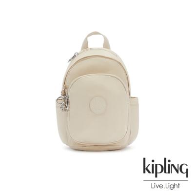 Kipling 閃亮象牙粉拉鍊式小巧收納後背包-DELIA MINI