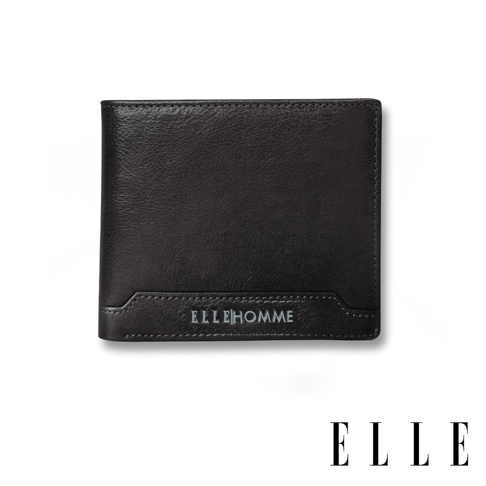 福利品 ELLE HOMME 壓紋Logo3卡上翻窗格真皮短夾-紳士黑