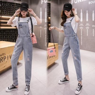 【韓國K.W.】(預購)素雅連身牛仔吊帶褲-1色
