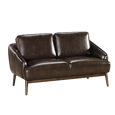 品家居 希瑪咖啡皮革實木沙發雙人座-145x80x67cm免組
