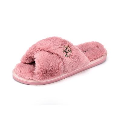 ROCKY BEAR  保暖交叉絨毛拖鞋-粉(女)