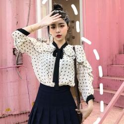 IMStyle 大碼韓版寬鬆綁帶蝴蝶結點點襯衫【正品】