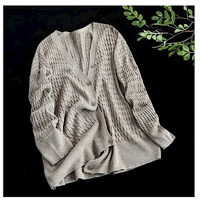 寬鬆麻花紋針織衫外套開衫-設計所在