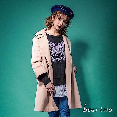 beartwo 經典翻領羊毛混紡單釦毛料大衣(二色)