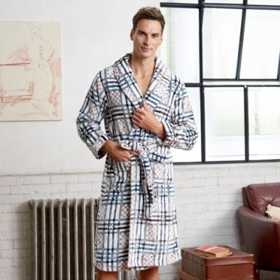 睡袍 極暖水貂絨男性睡袍(R80227-10藍條紋)蕾妮塔塔
