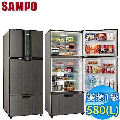 福利品 SAMPO聲寶 580L 1級變頻3門電冰箱 SR-A58DV(K2) 石墨銀