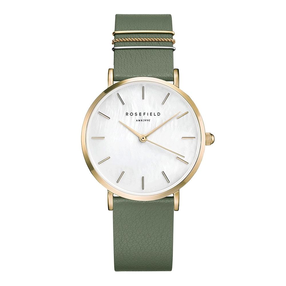ROSEFIELD 歐風時尚美學皮革腕錶-金x綠-/33mm