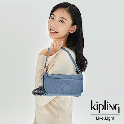 Kipling 沉穩霧藍色翻蓋肩背側背包-VECKA STRAP