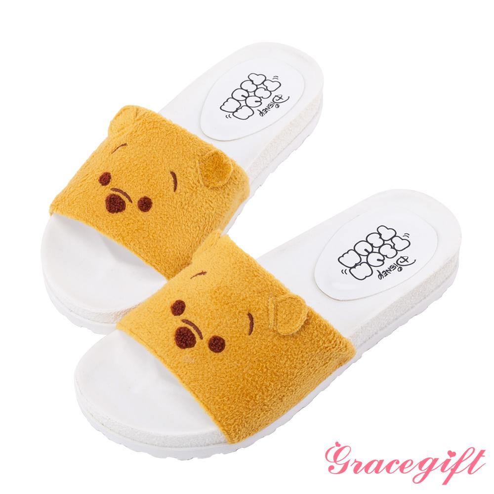 Disney collection by grace gift立體毛絨寬版涼拖鞋 黃
