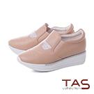 TAS水鑽貓咪造型真皮內增高休閒鞋-奶茶卡其