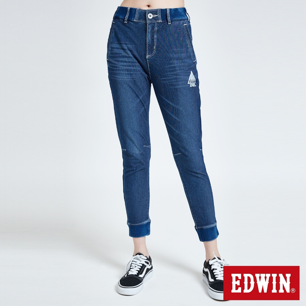 EDWIN JERSEYS 迦績 PK EJ6 涼感透氣 運動束口牛仔褲-女-拔洗藍
