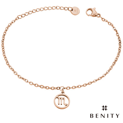 BENITY 星座吊飾 星座物語 天蠍座 醫療級抗敏 白鋼 IP玫瑰金 女手鍊