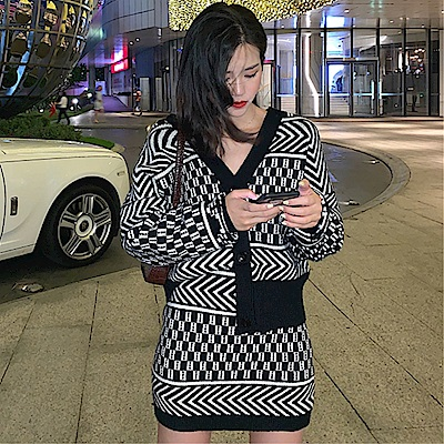 DABI 韓系外套小格紋毛衣半身包臀裙套裝長袖裙裝