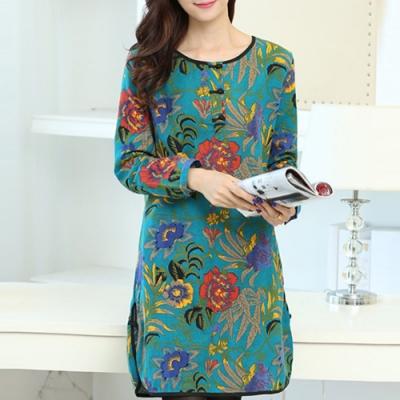 【韓國K.W.】復古文藝民族風寬鬆棉麻印花洋裝
