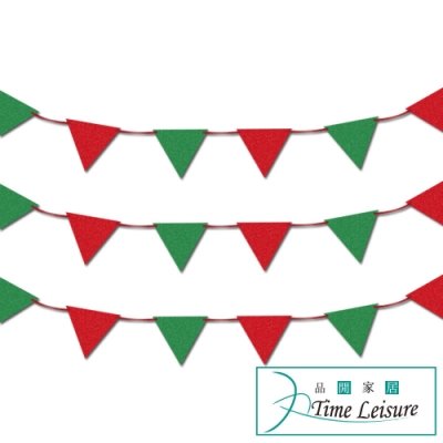 Time Leisure 聖誕節DIY派對佈置掛串旗/三角旗3包入