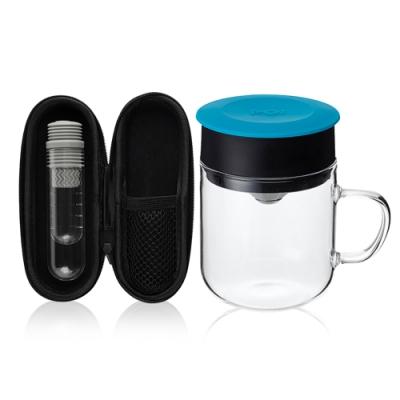 【PO:Selected】丹麥咖啡泡茶兩件組 (咖啡玻璃杯240ml-藍/試管茶格-灰)