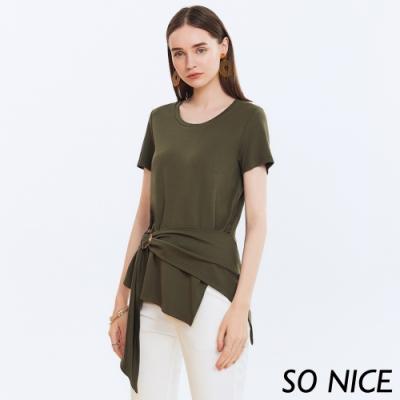 SO NICE時尚綁帶造型彈性棉上衣