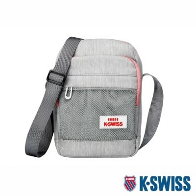 K-SWISS Travel Small Bag休閒斜背包-灰/粉紅